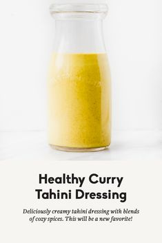 Delicious, creamy healthy curry tahini dressing with turmeric, garlic, ginger and curry flavors. This addicting dressing or dip will be your new favorite way to use tahini! Tahini Dressing, Poppyseed Salad Dressing, Salad Dressing Recipes, Healthy Sauces, Vegan Sauces, Vegan Recipes, Homemade Dressing Recipe, Focus Foods, Vegetarian