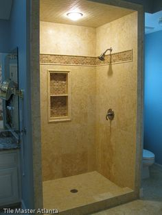 Rustic master bathroom showers   TILE MASTER GA- Travertine tile install Atlanta GA   Marble tile ...
