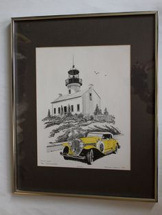 "Presenting ""Point Loma,"" an amazing 1977 Patrick Kelly lithograph of a 1930 Duesenberg in front of the Old Point Loma Lighthouse. $28.00, via Etsy."