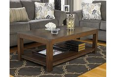 Rustic Brown Grinlyn Coffee Table View 1