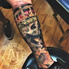 Art Junkies Tattoo Studio : Tattoos : Brent Olson : Realistic skull with crown and sunflower tattoo, Brent Olson Art Junkies Tattoo Skull Tattoos, Cute Tattoos, Leg Tattoos, Beautiful Tattoos, Tattoos For Guys, Sleeve Tattoos, Sunflower Tattoo Simple, Sunflower Tattoo Shoulder, Tattoo Bein