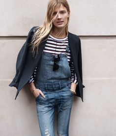 Blazer, striped shirt, overalls
