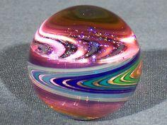 Marbles: Hand Made Art Glass James Alloway Dichroic Vortex #1684  1.17 inch