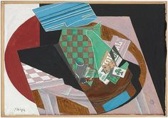 """Juan Gris (Spanish, 1887–1927). Checkerboard and Playing Cards, 1915. The Metropolitan Museum of Art, New York. Promised Gift from the Leonard A. Lauder Cubist Collection.  