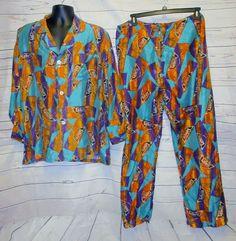 VTG Nordstrom's Pajama L 100% Pure Silk set Top Bottom Pants Labels S.F. Ca Pj's #Nordstrom #PajamaSets