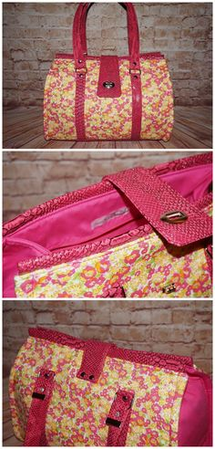 Nora purse sewing pattern. A custom Nora in pink faux dragon skin and flowery cotton, photos by Charlotte Salvi-Ganichaud