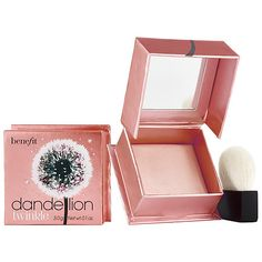 Shop Benefit Cosmetics' Dandelion Twinkle Highlighter at Sephora. A nude-pink powder highlighter. Highlighter Makeup, Skin Makeup, Makeup Brushes, Beauty Makeup, Highlighters, Benefit Blush, Makeup Box, Makeup Remover, Flawless Makeup