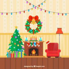 Colored christmas living room I Free Vector