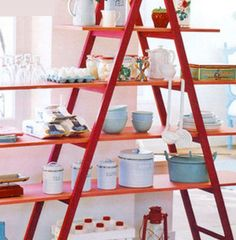 Small Kitchen Organizing Ideas - Space Saving Ladder Shelves - Click Pic for 42 DIY Kitchen Organization Ideas  Tips