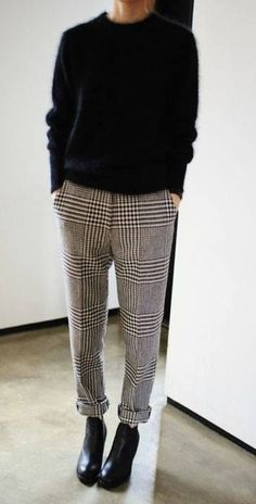 knit top + check trousers. #style