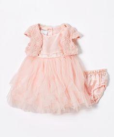 Light Pink A-Line Dress & Rosette Bolero Set - Infant & Toddler
