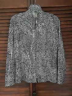 Women's Misook Petite Long Sleeve White Black Shiny Textured Disco Jacket Large