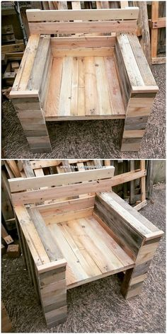 Easy to Make DIY Creations with Shipping Pallets - DIY Pallet Projects Pallet Side Table, Pallet Chair, Pallet Furniture, Furniture Ideas, Pallet Crafts, Diy Pallet Projects, Woodworking Projects, Pallet Mirror Frame, Pallet Wall Hangings