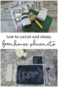 Have some plain old placemats in need of a new life? Sharing a fun way on how to paint Farmhouse Stamped Placemats using Fusion Mineral Paint and IOD Decor Stamps | www.raggedy-bits.com | #raggedybits #farmhouse #placemats #paint #DIY #fusionmineralpaint #IODDecorStamps