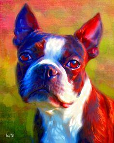 Boston Terrier Print - Dog Art Print 8x10