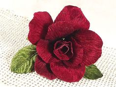 New Velvet Rose Red 3 in Millinery Bridal Flower Crowns Corsage Wedding Crafts