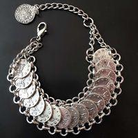 Bohemio gitano de joyería de plata antigua pulsera de monedas para mujeres                                                                                                                                                     Más