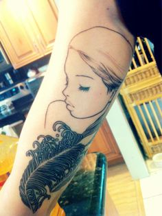 """My beautiful outline of an Audrey Kawasaki piece, done by Chris ""Rusty"" Calsetta at No Hard Feelings in Coral Springs, Florida. Can't wait to get her finished!"""