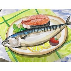 이미지: 음식 Food Drawing, Drawing For Kids, Painting For Kids, Art For Kids, Crafts For Kids, Drawing Lessons, Art Lessons, Poster Color Painting, Kids Watercolor