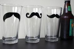 Still super cute. Set of 3 Mustache Pint Glasses by DistilledHumor on Etsy, $21.00