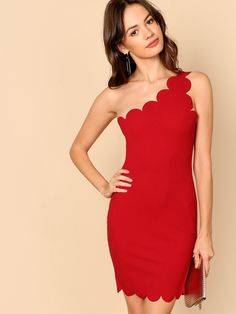 763bc02591 Shop One Shoulder Scallop Trim Bodycon Dress online. SHEIN offers One  Shoulder Scallop Trim Bodycon Dress & more to fit your fashionable needs.