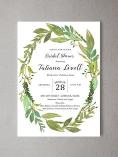 Watercolor Greenery Wreath Shower Invitation - An elegant range of garden greens hand painted with sprigs of rosemary. ****************************************************************************** *This listing is for a PRINTABLE DIGITAL FILE of this card, no physical products will be shipped. {OR} Would you like us to print these for you? Convo us for terms and pricing. *This can be made into a wedding invitation. Please convo with questions…