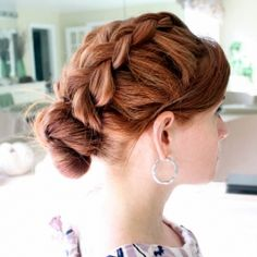 Hair. i am just liking the fat braid. Boho-inspired take on the traditional, messy bun.