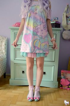 DRESS AVAILABLE ON ETSY! Kawaii pastel summer dress! Get the harajuku look in this adorable pastel outfit. Completely custom made to order in the US! Pastel Creepy Cute Dress, astronaut girl star print. For you all style-conscious ladies, this dress is the perfect way to stay trendy and get noticed! Buy on Etsy, ships worldwide <3 #etsy #etsyfinds #kawaii #harajuku #pastel #ad