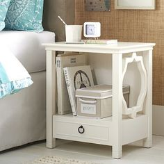 Elsie Bedside Table #potterybarnteen this would go in the closet/soon to be relaxing area/hangout room with a computer and books and cool stuff/study area