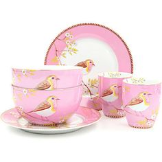 Pip Studio Early bird breakfast set - Pink - Shabby chic china