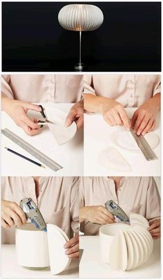Aus alt mach neu ♥ Standleuchte mit einem einfachen Schirm, Pappteller, Heißklebepistole. Pappteller so Knicken, dass in der Mitte genügend Platz ist, um die Pappteller an den Schirm zu kleben. (gefunden auf: blogs.hogarutil.com)