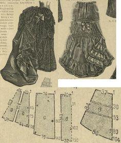 Tygodnik Mód 1887.: Demi-train foundation skirt for evening gowns.