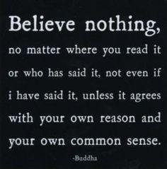 """""""No creas nada, sin importar dónde lo hayas leído o quién lo haya dicho; incluso si yo lo dije. A menos que concuerde con tu propia razón y sentido común.""""   Buda"""