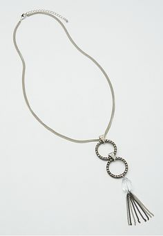 necklace with rhinestone circles and tassel - maurices.com