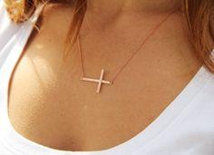 Simple Sideways Cross Necklace by GULIAN