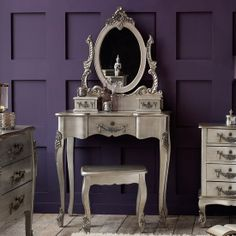 goo dark purple color for bedside table? Toulouse Silver Bedroom Collection | Dunelm Mill