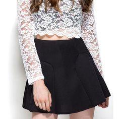 Mesh Overlay Paneled Skater Skirt (150 PLN) ❤ liked on Polyvore featuring skirts, black, skater skirt, fitted skirts, flared skirt, black flared skirt and black knee length skirt