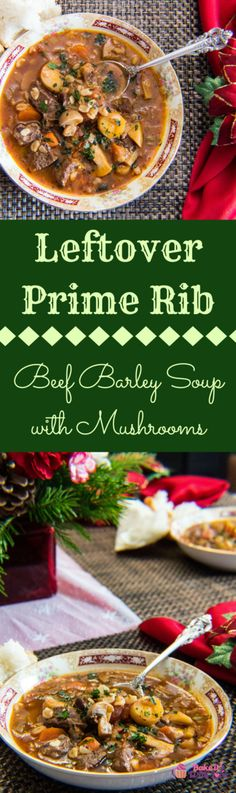 This hearty Leftover Prime Rib Beef Barley Soup with Mushrooms will leave you planning to make alot more prime rib in the very near future! Loaded with fantastic flavors and a wonderful assortment of complimentary vegetables, all made even better with tender leftover pieces from your prime rib roast holiday dinner! BakeItWithLove.com | #leftoverrecipeideas #primerib #beef #barley #mushrooms #primeribroast #leftovers Prime Rib Soup, Leftover Prime Rib, Gas Grill Reviews, Beef Barley Soup, Rib Roast, Bbq Pork, Sauce Recipes, Chilli Recipes, Cooking Recipes