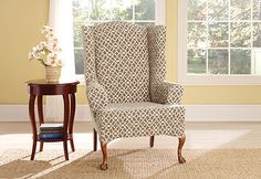 Sure Fit Slipcovers Stretch Ironworks Wing Chair Slipcovers - Wing Chairs
