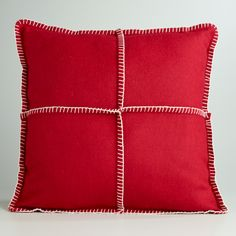 Red Boiled Wool Throw Pillow-Red Boiled Wool Throw Pillow | World Market