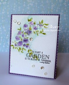 The Lucky Clucker: Make it Monday  ♡♡♡♡♡  She uses rubber stamps from Papertrey Ink called Garden Grace