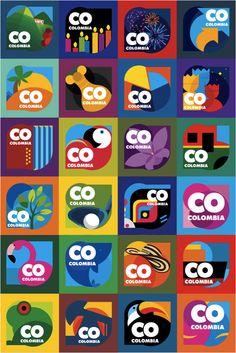 colombia branding... exquisit. Destination Branding, City Branding, Logo Branding, Logos, Identity Design, Visual Identity, Id Design, Flat Design, Dynamic Logo