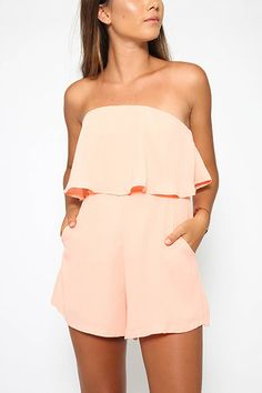 Off The Shoulder Playsuit with Layered Details in Pink