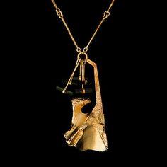 "Björn Weckström for Lapponia Jewelry (FI), ""Semiramis"" 14k gold and tourmaline crystals modernist necklace, 1973. #lapponia #finland | finlandjewelry.com"
