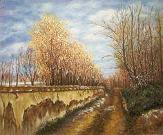 """Paseo de árboles, cuadro de Jesús Sanz, pintor del estudio de pintura """"La magia de Rudi""""."""