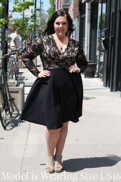 14b7a7daeb8 Lace Contrast Scallop Neckline Skater Dress. Lace Contrast Scallop Neckline  Skater Dress — Your Big Sister s Closet Plus Size