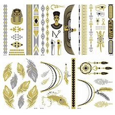 King Horse Feather Necklace Metallic Temporary Tattoos All-In-One Package 6 Sheets >>> For more information, visit image link. (This is an affiliate link) #Makeup