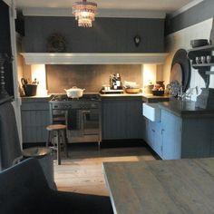 Mijn knusse keuken... Sfeer#stoer#landelijkwonen# keuken#grijsblauw#