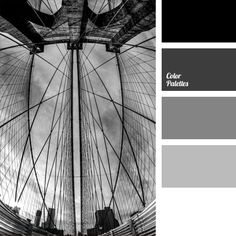 A monochrome gray color palette looks a bit grim, but still amazing. The combination of black, white, and shades of gray looks simple and succinct. Shades Of Gray Color, Black Color Palette, Colour Pallette, Grey Colors, Colours, Nail Color Combinations, Colour Schemes, Monochrome Color, Color Balance