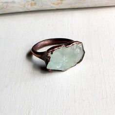 Copper Ring Aquamarine Ring Pale Sea Green Blue by MidwestAlchemy, $70.50